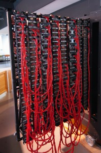 Wiring on the rear of a Bombe.