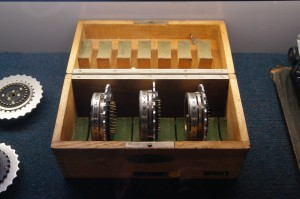 Box of Enigma rotors.